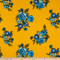 Fabric Merchants Techno Crepe Blooming Roses Mustard/Blue