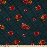 Fabric Merchants Techno Crepe Houndstooth Plaid Vintage Floral Hunter Green/Mustard