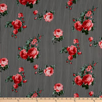 Fabric Merchants Techno Crepe Small Striped Roses Black/White/Pink