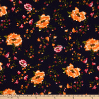 Fabric Merchants Techno Crepe Floral Garden Navy/Coral