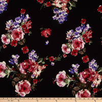 Fabric Merchants Techno Crepe Watercoler Floral Black/Red/Violet