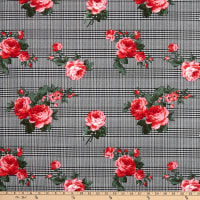 Fabric Merchants Techno Crepe Houndstooth Plaid Rose Bouquet Black/Red