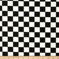Fabric Merchants Techno Crepe Medium Check Ivory/Black