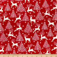 Benartex Deer Festival Metallic Deer Trees & Stars Red