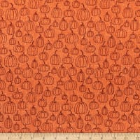 Benartex Rustic Fall Pumpkin Line Orange
