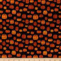 Benartex Rustic Fall Rustic Pumpkin Black