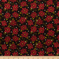 Benartex Winterberry Winter Poinsettia Black