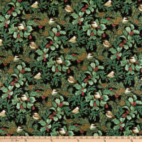 Benartex Festive Chickadees Chickadees & Holly Allover Black