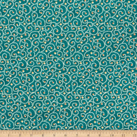 Benartex River's End Dotted Scroll Teal