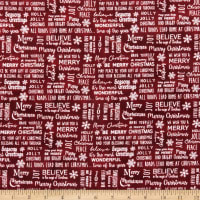 Benartex Rustic Village Christmas Believe In Magic Red