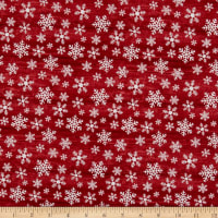 Benartex Rustic Village Christmas Wood Flake Red