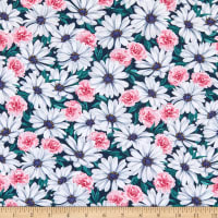 Kaufman Daisy Made Stretch Jersey Knit Packed Floral Teal