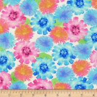 Kaufman Natural Blooms Stretch Jersey Knit All Over Flowers Petal