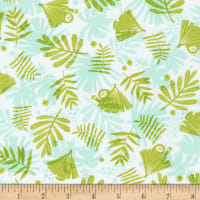 Kaufman Wild And Free Stretch Jersey Knit Leaves Limelight