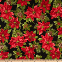 Maywood Studio Glad Tidings Metallic Poinsettia Rich Black