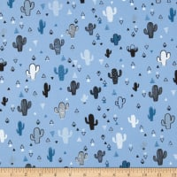 Fabtrends Cotton Poplin Cactus And Triangles Blue