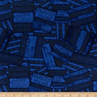 Clothworks Home of the Free Collage Dark Royal Blue