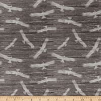 Clothworks Home of the Free Toss Dark Taupe