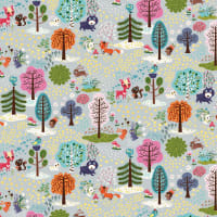 Clothworks Forest Babes Toile Light Grey