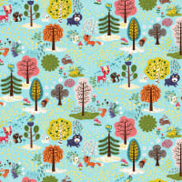 Clothworks Forest Babes Toile Light Teal
