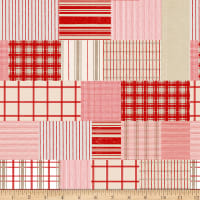Christmas Memories Patchwork Of Plaid And Stripes Red/Tan