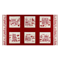 """Home For The Holidays Large Blocks 24"""" Panel Red"""