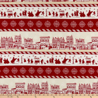 Home For The Holidays Border Stripe Red