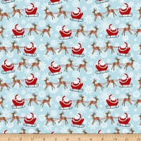 Peace And Goodwill Santa In Sleigh Light Blue/Red