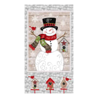 """Snow Place Like Home Snowman 24"""" Panel Grey"""
