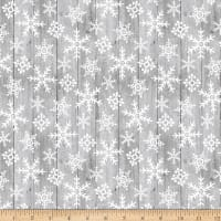 Studio E Snow Place Like Home Tossed Snowflakes on Wood Grey