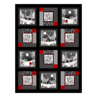 "Midwinter Song 36"" Panel Black Red"