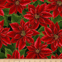 Hoffman Metallic Holiday Decadence Large Packed Poinsettias Christmas Gold