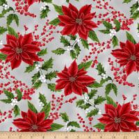 Hoffman Metallic Holiday Decadence Tossed Poinsettias & Holly December Silver
