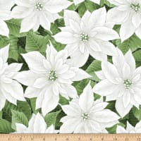 Hoffman Metallic Holiday Decadence Large Packed Poinsettia White Silver