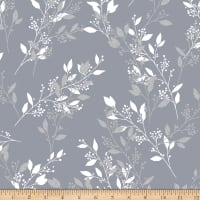 Hoffman Metallic Sparkle & Fade Berry Branches Pewter Silver