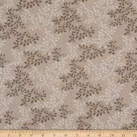 """108"""" Wide Back 100% Cotton Leaves  Taupe"""