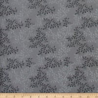 "108"" Extra-Wide 100% Cotton Leaves Charcoal"