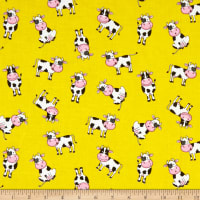 Fabric Traditions Novelty Print Cute Cows Yellow
