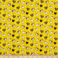 Fabric Traditions Novelty Print Mini Chickens Yellow