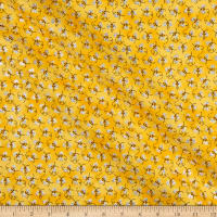Fabric Traditions Novelty Print Bees With Glitter Gold