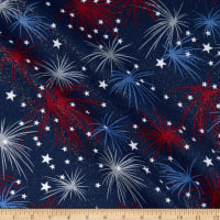 Fabric Traditions Heart Of America Fireworks Glitter Navy/Red