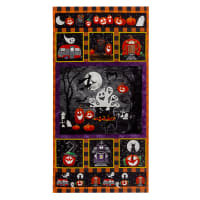 "Booville Glow In The Dark Halloween 24"" Panel Orange"