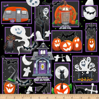 """Booville (Glow in the Dark) Halloween Patch 24"""" Panel Black"""