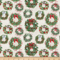 December Magic Christmas Wreaths Ecru