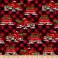 Giddy Up Santa! Truck on Plaid Red