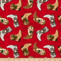 Giddy Up Santa! Tossed Cowboy Boots Red