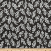 Stoffabric Denmark Avalana Jacquard Stretch Knit Leaves Black Grey