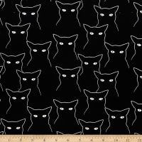Stoffabric Denmark Avalana Brushed Jersey Knit White Outlined Cats Black