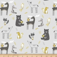 Stoffabric Denmark Avalana Jersey Knit Forest Animals Light Grey