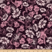 Stoffabric Denmark Avalana Jersey Viscose Stretch Knit Viscose Two Coloured Rose Flowers Bordeaux